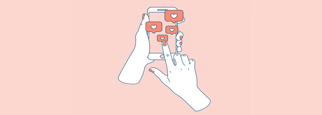 Animerade vita händer som trycker gilla på en telefon med rosa bakgrund
